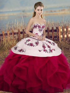 Floor Length White And Red Quinceanera Gown Sweetheart Sleeveless Lace Up