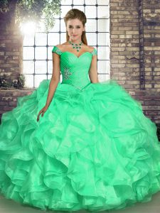 Turquoise Quince Ball Gowns Military Ball and Sweet 16 and Quinceanera with Beading and Ruffles Off The Shoulder Sleeveless Lace Up