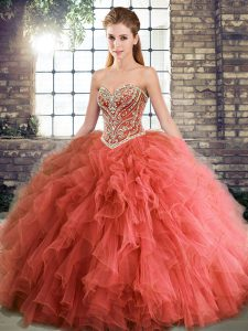 Affordable Coral Red Ball Gowns Beading and Ruffles Vestidos de Quinceanera Lace Up Tulle Sleeveless Floor Length