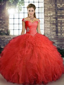 Pretty Off The Shoulder Sleeveless Lace Up Ball Gown Prom Dress Orange Red Tulle