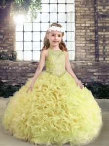 Fabric With Rolling Flowers Sleeveless Floor Length High School Pageant Dress and Beading