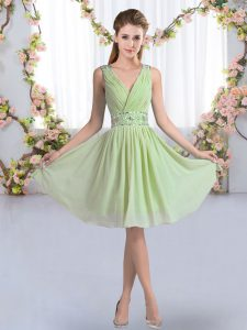 Sleeveless Chiffon Knee Length Zipper Vestidos de Damas in Yellow Green with Beading