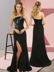 Black Lace Up Custom Made Pageant Dress Beading Sleeveless Sweep Train