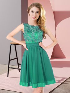 Sleeveless Mini Length Beading and Appliques Backless Bridesmaid Dresses with Turquoise