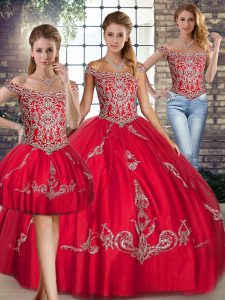 Attractive Red Off The Shoulder Lace Up Beading and Embroidery Sweet 16 Dress Sleeveless