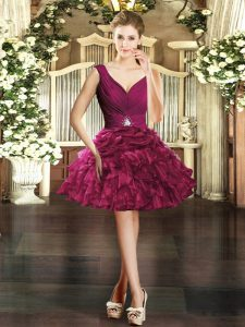 Super Mini Length Burgundy Homecoming Dress V-neck Sleeveless Backless