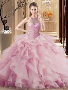Cute Ball Gowns Sleeveless Pink 15 Quinceanera Dress Sweep Train Lace Up