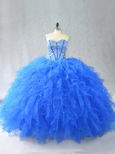 Blue Sleeveless Tulle Lace Up 15th Birthday Dress for Sweet 16 and Quinceanera