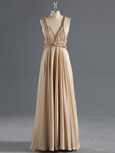 Champagne Sleeveless Floor Length Ruching Criss Cross Homecoming Dress