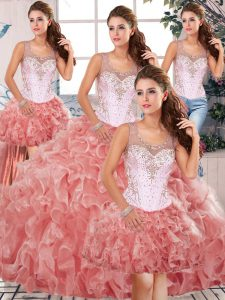 Fantastic Watermelon Red Ball Gowns Organza Scoop Sleeveless Beading and Ruffles Floor Length Clasp Handle Quinceanera Gowns