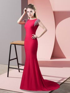 Pretty Coral Red Elastic Woven Satin Backless Going Out Dresses Short Sleeves Brush Train Beading