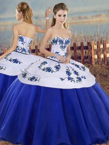 Sumptuous Royal Blue Ball Gowns Embroidery Quince Ball Gowns Lace Up Tulle Sleeveless Floor Length