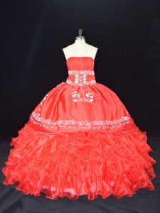 Low Price Red Organza Lace Up Quinceanera Gown Sleeveless Floor Length Embroidery and Ruffles