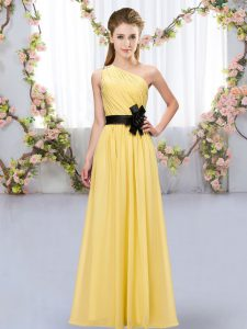 Clearance Floor Length Gold Bridesmaid Gown Chiffon Sleeveless Belt