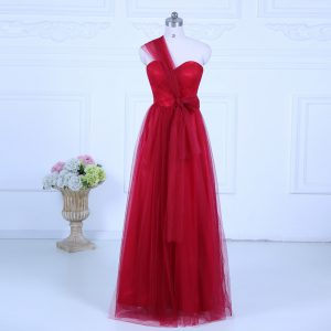 Dramatic Sleeveless Floor Length Ruching Zipper Quinceanera Court of Honor Dress with Wine Red