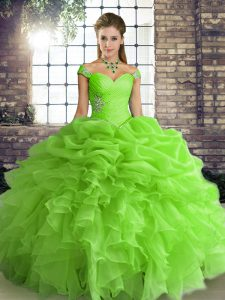Customized Sleeveless Lace Up Floor Length Beading and Ruffles and Pick Ups Sweet 16 Dress