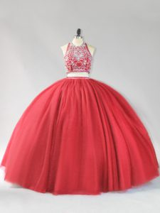 Red Sleeveless Tulle Backless Quince Ball Gowns for Sweet 16 and Quinceanera