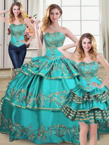 Fabulous Aqua Blue Organza Lace Up Sweet 16 Dresses Sleeveless Floor Length Embroidery and Ruffled Layers