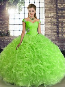 Off The Shoulder Neckline Beading 15 Quinceanera Dress Sleeveless Lace Up