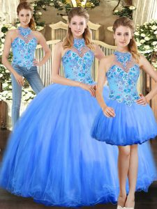 Eye-catching Sleeveless Floor Length Embroidery Lace Up Sweet 16 Dresses with Blue