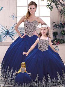 Shining Royal Blue Tulle Lace Up Scoop Sleeveless Floor Length Sweet 16 Dress Beading and Appliques