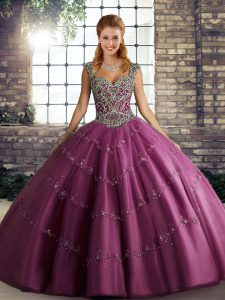 Floor Length Fuchsia Quinceanera Dresses Straps Sleeveless Lace Up