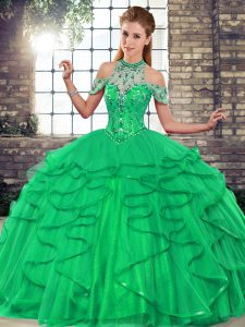 Elegant Green Halter Top Neckline Beading and Ruffles Quinceanera Dresses Sleeveless Lace Up
