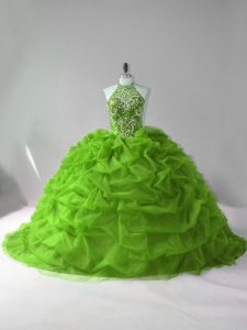 Green Quince Ball Gowns Sweet 16 and Quinceanera with Beading and Pick Ups Halter Top Sleeveless Court Train Lace Up