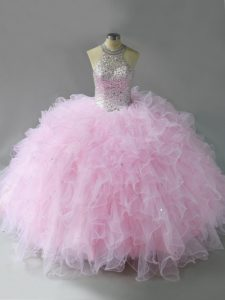 Floor Length Pink Quinceanera Gowns Tulle Sleeveless Beading and Ruffles