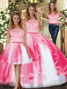 Admirable Sleeveless Floor Length Lace and Ruffles Clasp Handle Ball Gown Prom Dress with Hot Pink