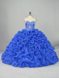 Popular Blue Quince Ball Gowns Organza and Elastic Woven Satin Brush Train Sleeveless Beading and Pick Ups