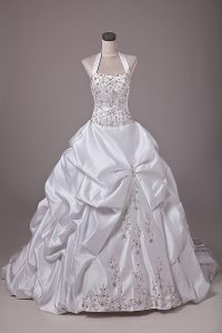 Discount White Taffeta Lace Up Wedding Gowns Sleeveless Brush Train Beading and Embroidery and Pick Ups