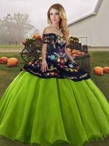 Customized Sleeveless Floor Length Embroidery Lace Up Sweet 16 Dresses