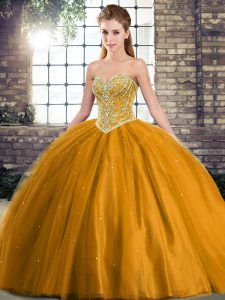 Noble Brown Sleeveless Brush Train Beading Quince Ball Gowns