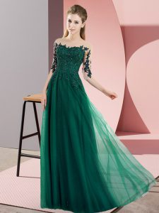 Superior Dark Green Bateau Neckline Beading and Lace Dama Dress for Quinceanera Half Sleeves Lace Up