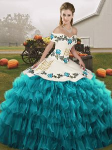 Teal Ball Gowns Off The Shoulder Sleeveless Organza Floor Length Lace Up Embroidery and Ruffled Layers 15 Quinceanera Dress
