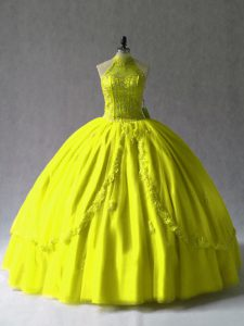 Floor Length Lace Up Quinceanera Gowns Yellow Green and In with Appliques