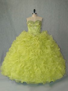 Sleeveless Beading and Ruffles Lace Up Ball Gown Prom Dress with Yellow Green Brush Train