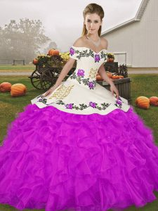 Purple Lace Up Quinceanera Dresses Embroidery and Ruffles Sleeveless Floor Length