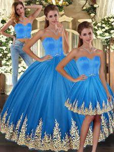 Sumptuous Floor Length Baby Blue Quince Ball Gowns Sweetheart Sleeveless Lace Up