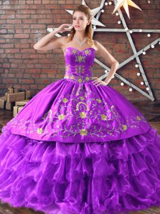 Great Sleeveless Lace Up Floor Length Embroidery and Ruffled Layers Quinceanera Dress