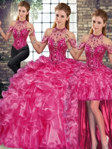 Delicate Floor Length Fuchsia Quinceanera Gowns Organza Sleeveless Beading and Ruffles
