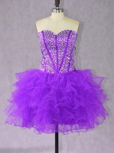 Purple Organza Lace Up Prom Gown Sleeveless Mini Length Beading and Ruffles