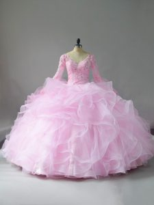 Pink Lace Up V-neck Lace and Ruffles Quince Ball Gowns Tulle Long Sleeves