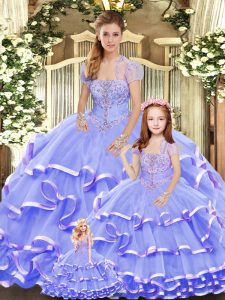 Amazing Organza Sleeveless Floor Length Quinceanera Dresses and Beading and Ruffled Layers