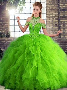 Clearance Floor Length Lace Up Quinceanera Dresses Green for Military Ball and Sweet 16 and Quinceanera with Beading and Ruffles