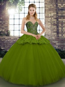 Olive Green Ball Gowns Beading and Appliques Quinceanera Dress Lace Up Tulle Sleeveless Floor Length