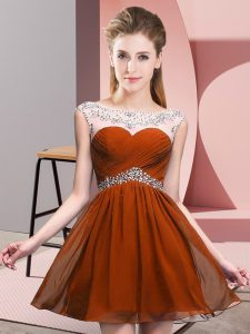 Popular Rust Red Chiffon Backless Scoop Sleeveless Mini Length Prom Dress Beading