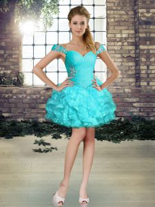 Shining Aqua Blue Sleeveless Organza Lace Up Dress for Prom for Prom and Party