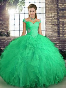 Turquoise Ball Gowns Beading and Ruffles 15th Birthday Dress Lace Up Tulle Sleeveless Floor Length